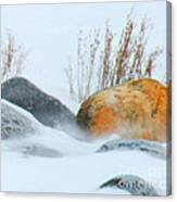 Blowing Snow And Rocks Canvas Print