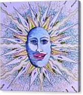 Blu Glitter Sun Canvas Print
