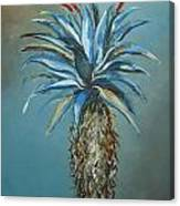 Blue Aloe With Red Flowers Canvas Print