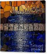Blue And Gold Stained Abstract Canvas Print