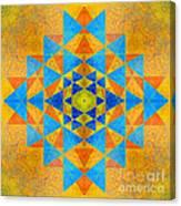 Blue And Gold Yantra Meditation Mandala Canvas Print