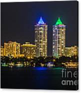Blue And Green Diamond Twin Towers Canvas Print