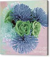 Blue And Green Flowers Canvas Print
