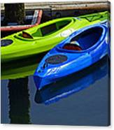 Blue And Green Kayaks Canvas Print