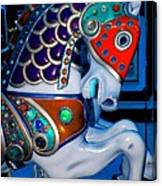 Blue And Red Carousel Horse Canvas Print