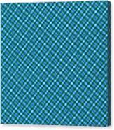Blue And Teal Diagonal Plaid Pattern Textile Background Canvas Print