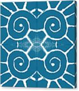 Blue And White Wave Tile- Abstract Art Canvas Print