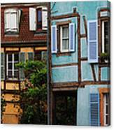 Blue And Yellow Buildings In La Petite Venise In Colmar France Canvas Print