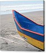 Blue And Yellow Fishing Boat On The Beach Canvas Print