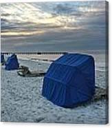 Blue Beach Chairs Canvas Print