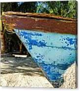 Blue Beached Canoe Canvas Print