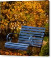 Blue Bench - Autumn - Deer Isle - Maine Canvas Print