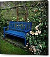 Blue Bench With Roses Canvas Print