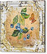 Blue Berries And Butterfly On Vintage Tin Canvas Print