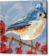 Blue Bird In Winter - Tuft Titmouse Modern Impressionist Art Canvas Print