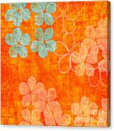 Blue Blossom On Orange Canvas Print