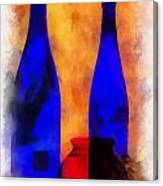 Blue Bottles Photo Art Canvas Print