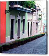 Blue Brick Street Old San Juan Canvas Print