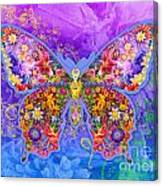 Blue Butterfly Floral Canvas Print