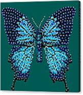 Blue Butterfly Green Background Canvas Print