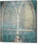 Blue Church Window And Hydrangea Canvas Print