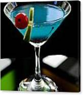 Blue Cocktail With Cherry And Lime Canvas Print