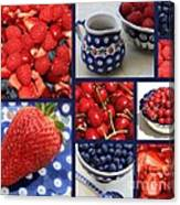 Blue Dishes And Fruit Collage Canvas Print