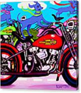Blue Dogs On Motorcycles - Dawgs On Hawgs Canvas Print