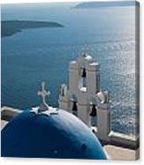 Blue Domed Church In Santorini Greece Canvas Print