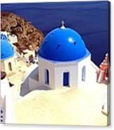 Blue Domes In Santorini Canvas Print