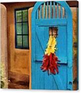 Blue Door And Peppers Canvas Print