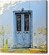 Blue Door In Shade Canvas Print