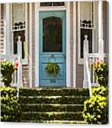 Blue Door  Ivy Stairs Canvas Print
