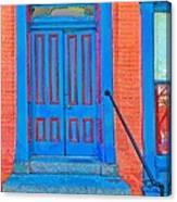 Blue Door On Red Brick Canvas Print