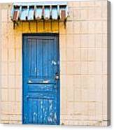 Blue Door With A Lock Canvas Print