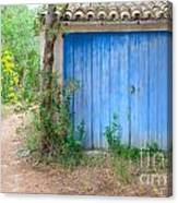 Blue Doors And Yellow Flowers Canvas Print