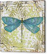 Blue Dragonfly On Vintage Tin Canvas Print