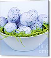 Blue Easter Eggs In Bowl Canvas Print