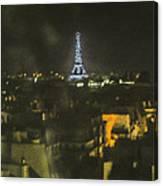 Blue Eiffel At Night Canvas Print