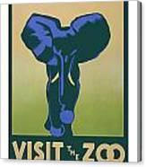 Blue Elephant Visit The Zoo Canvas Print