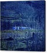 Blue Fantasy Swans Canvas Print