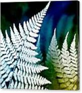 Blue Fern Leaf Art Canvas Print