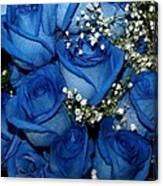 Blue Fire And Ice Roses Canvas Print