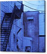 Blue Fire Escape Usa Near Infrared Canvas Print
