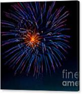 Blue Firework Flower Canvas Print