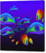 Blue Fish Dolphin Canvas Print