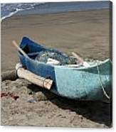 Blue Fishing Boat On The Beach Canvas Print
