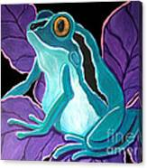 Blue Frog Purple Flower Canvas Print