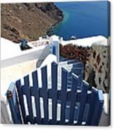 Blue Gate Oia Santorini Greek Islands Canvas Print