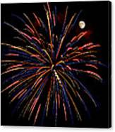 Blue Gold Pink And More - Fireworks And Moon Canvas Print